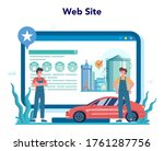 gas station worker or refueler... | Shutterstock .eps vector #1761287756