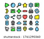 the set of  vector ui icons in...