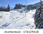 Ski Track On A Sunny Day