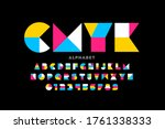 geometric shapes style font... | Shutterstock .eps vector #1761338333