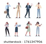 business woman and man with... | Shutterstock .eps vector #1761347906