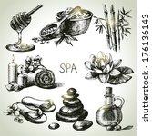 Spa Sketch Icon Set. Beauty...