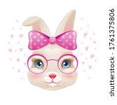 cute bunny. rabbit girl face in ...   Shutterstock .eps vector #1761375806