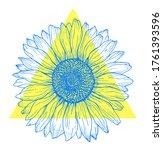 Blue Outline Sunflower Line Art ...