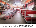 Small photo of Frackville USA - October 21 2014; Traditional styl;e American Diner in retro design fitout red and white dominant colors.