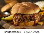 barbeque pulled pork sandwich... | Shutterstock . vector #176142926
