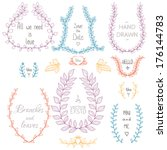 set of hand drawn laurels and... | Shutterstock .eps vector #176144783