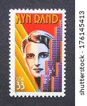 Small photo of UNITED STATES - CIRCA 1999: a postage stamp printed in USA showing an image of Ayn Rand, circa 1999.