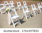 Chairs are set up apart from each other at a Missouri wedding during the Covid 19 Coronavirus pandemic.