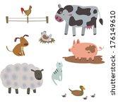 farm animals | Shutterstock .eps vector #176149610