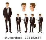 businessman in various poses | Shutterstock .eps vector #176153654