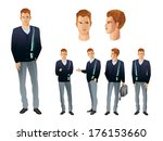businessman in various poses | Shutterstock .eps vector #176153660