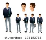 businessman in various poses | Shutterstock .eps vector #176153786