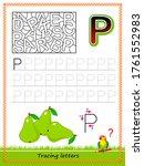 worksheet for tracing letters.... | Shutterstock .eps vector #1761552983