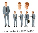 businessman in various poses | Shutterstock .eps vector #176156153