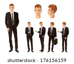 businessman in various poses | Shutterstock .eps vector #176156159