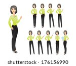 business woman in various poses | Shutterstock .eps vector #176156990
