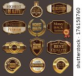 set of premium golden labels | Shutterstock .eps vector #176158760