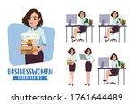 businesswoman character vector...   Shutterstock .eps vector #1761644489