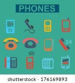 flat phones icons set  vector