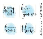 home quote calligraphy on blue... | Shutterstock .eps vector #1761705356