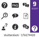 vector black faq icons set on... | Shutterstock .eps vector #176174420