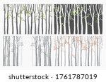 birch tree with deer and birds...   Shutterstock .eps vector #1761787019