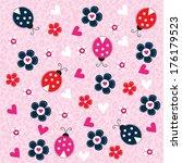 Cute Ladybird Pattern Vector...