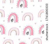 seamless pattern rainbow clouds ... | Shutterstock . vector #1761800333