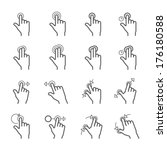 touch gestures icons | Shutterstock .eps vector #176180588
