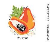 juicy orange papaya with leaves ... | Shutterstock .eps vector #1761833249