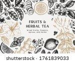 hand sketched herbal tea... | Shutterstock .eps vector #1761839033
