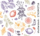 herbal tea seamless pattern.... | Shutterstock .eps vector #1761843716