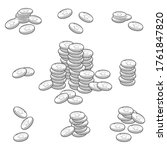 stack of coins vector black...