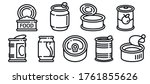 tin can icons set. outline set... | Shutterstock .eps vector #1761855626