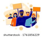 group of people protesters... | Shutterstock .eps vector #1761856229