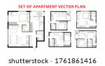 architecture plan apartment set ... | Shutterstock .eps vector #1761861416