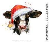 Watercolor Calf. Cute Baby Bull ...