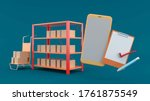 stock around the cart  notepad... | Shutterstock . vector #1761875549