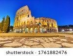 Illuminated Colosseum At Dusk ...