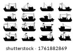Fishing Boat Silhouette. Flat...
