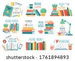 reading books. stack of library ... | Shutterstock .eps vector #1761894893
