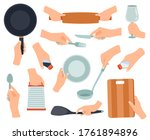 hand hold kitchenware. cooking... | Shutterstock .eps vector #1761894896