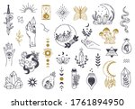 witch magic symbols. doodle... | Shutterstock .eps vector #1761894950