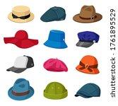 headwear hats. men and women...   Shutterstock .eps vector #1761895529