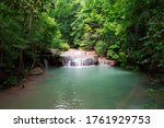 waterfall with river in forest...   Shutterstock . vector #1761929753