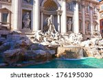 fountain di trevi   most famous ... | Shutterstock . vector #176195030