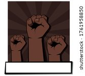 three clenched fists.  light...   Shutterstock .eps vector #1761958850