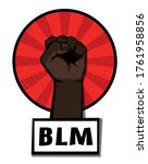 raised clenched brown fist in...   Shutterstock .eps vector #1761958856