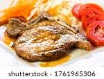 Fried Pork Steak In Plate    I...